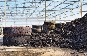 old tires being shredded for recycling