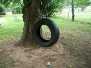 Tire swing made from old tire